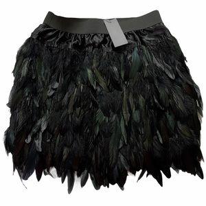 🆕 Choles Black Feather Mini Skirt - Sz M